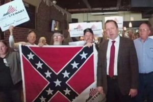 Corey Stewart with neo confederate supporters
